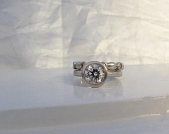 1.5ct diamond and platinum engagement ring, diamond eternity band, GIA diamond, bezel diamond solitaire with bezel set eternity band