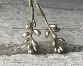 Silver plant earrings -Succulent earrings-Sterling silver studs -Long earrings -Botanical jewelry -Nature jewelry -Organic earrings-Gift