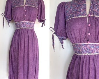 Lovely Boho 70s Peasant Dress | 1970s Prairie Tunic Dress | Bohemian Peasant Dress