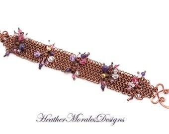 Copper Bracelet Accented with Swarovski Crystal