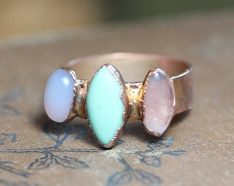 Sale Turquoise Rose Quartz Ring Copper Electroformed Rustic Jewelry Size 5 3/4 Pink Green Gemstone Three Stone Ring
