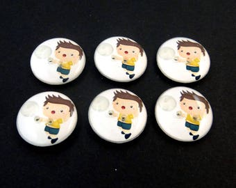 "6 Volleyball Buttons.  3/4"" or 20 mm Boy Volleyball Player Sewing Buttons.  Handmade by Me.  Washer and Dryer Safe."