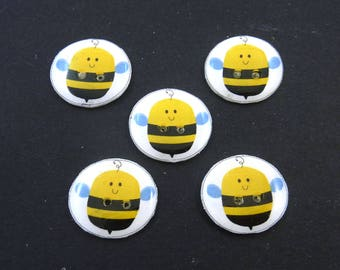 """5 Handmade Buttons Bee Buttons.  3/4"""" or 20 mm  Buttons for Sewing."""