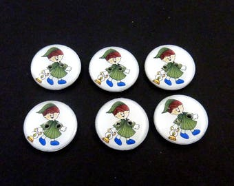 We Willie Winkie Buttons. Handmade Buttons.  Nursery Rhyme Buttons for Sewing.