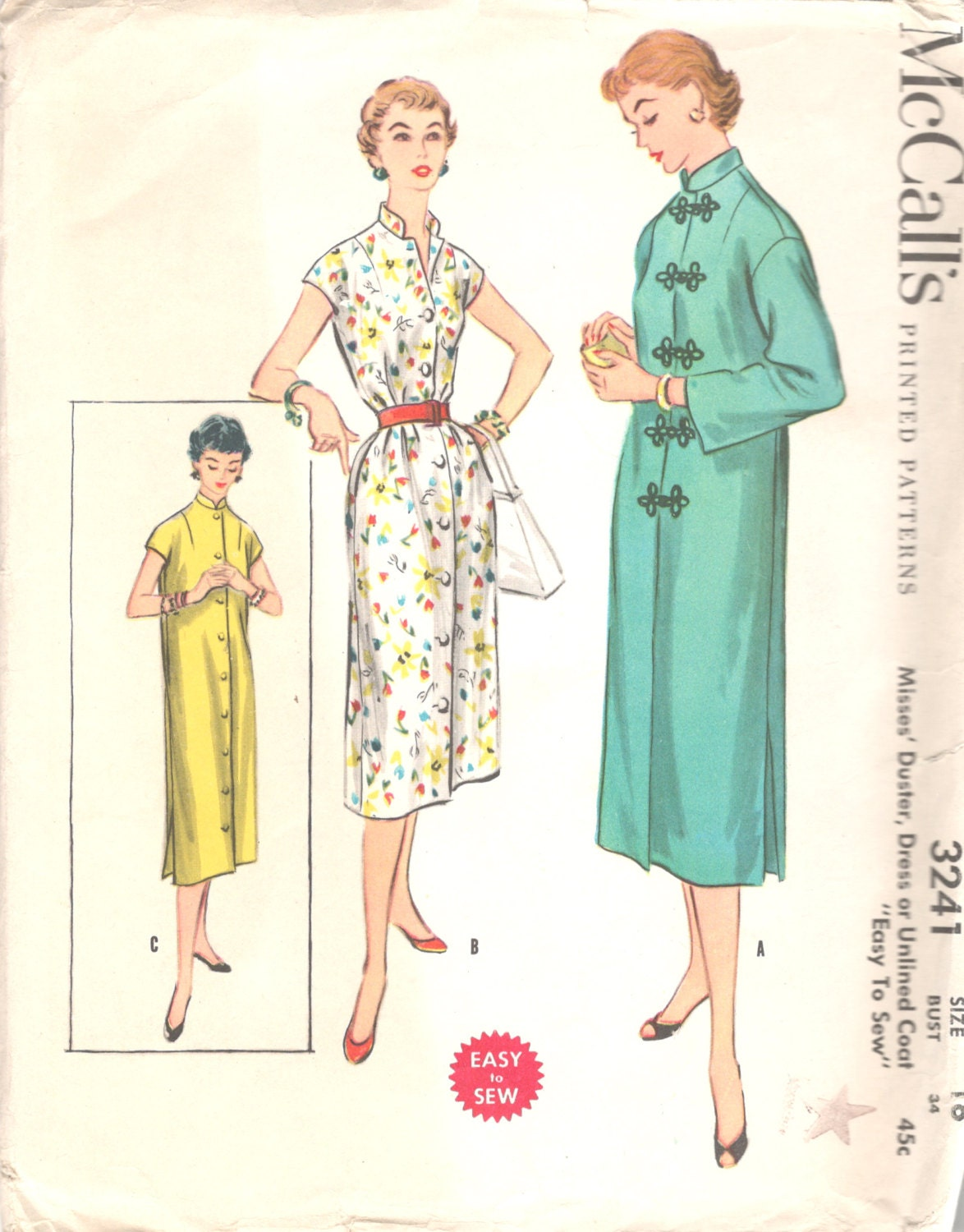 Mccalls 3241 1950s misses oriental duster tubular dress mandarin sold by mbchills jeuxipadfo Image collections