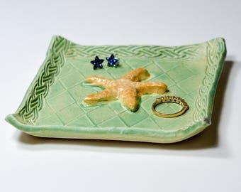 Ceramic  Starfish Tray - Trinket Tray - Green Ring Dish - - Handmade