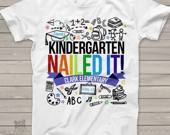 Kindergarten graduation shirt - graduation boy kindergarten nailed it personalized graduation Tshirt  mscl-004
