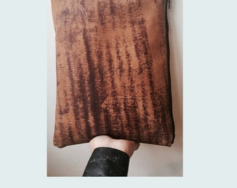 SALE Distressed Leather Clutch Handbag- Zippered Pouch -Edgy Bags, Unique Gifts , Purse, Brown, Evening bags,