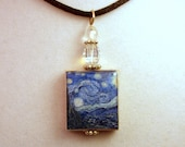 Van Gogh Starry Night Art Pendant / UPCYCLED Scrabble Jewelry / Beaded Charm Necklace / Unusual Gifts