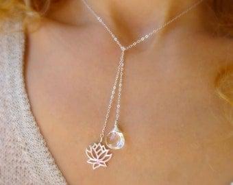 Lotus Lariat necklace, Otis B Gemstone Y necklace, White topaz, April birthstone, Sterling silver, wire wrapped, yoga jewelry, om, Otis B