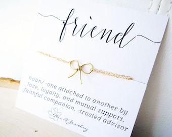 Best Friends Bracelet, Dainty Bow bracelet, Bridesmaid gift idea, tie the knot, Friendship bracelet, meaningful message card, Otis B