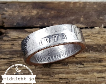 1973 Coin Ring Double Sided Year Quarter Your Size MR0705-Tyr1973