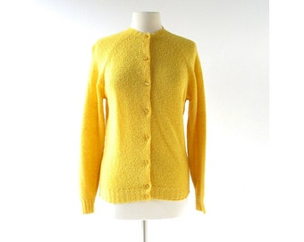 Vintage Pendleton Sweater | Yellow Cardigan | 60s Sweater | M L