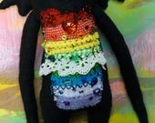Handmade Rainbow Stitched Monster. Black fabric, Colorful patchwork, Buttons,Beads,Wings,Original Art Doll, Weird, Art doll, Creature,Eyes