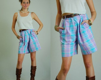 Plaid Culottes Vintage 80s Pastel Plaid High Waist Preppy Shorts (s)