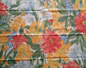 FL022 ~ 3 Floral fabric pieces Watercolor print Yellows Oranges Blues Greens Pinks Colorful flowers Cotton fabric