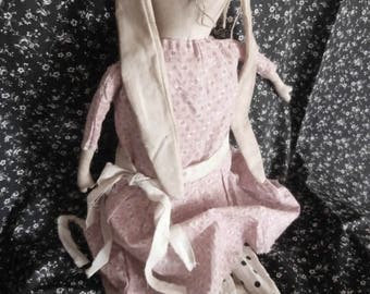 Handmade Vintage Looking Rabbit Folk Art Doll Spring Bunny