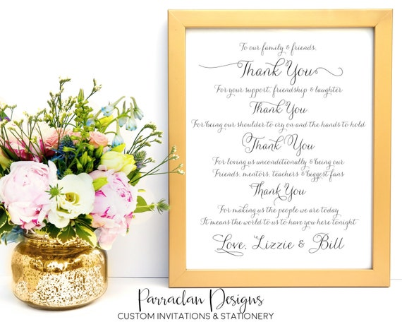 To Our Family and Friends- Thank You Wedding Sign- Wedding Sign- Reception Sign, FS01