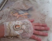 Balance payment Marie Antoinette lace cuff, Victorian bracelet cuff, Bead embroidered jewelry, tattered lace jewelry, fabric bracelet Boho