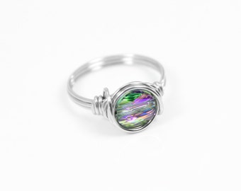 Crystal Ring - Wire Ring - Stacking Ring - Statement Ring - Rings - Stainless Steel Ring - Wire Wrapped Ring - Rainbow Crystal Ring