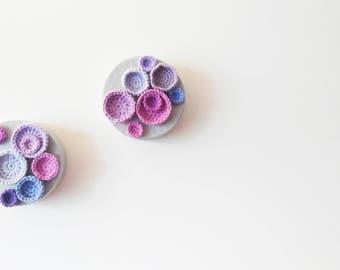 Crochet Wall Art set of 2 - contemporary modern abstract purple grey one of a kind ooak textile soft sculpture round circle original artwork