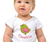 Personalized Baby Girl Onesie Bodysuit with Embroidered Birdie Appliqué by Funny Girl Designs - Your Custom Name!