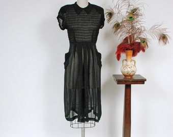 Vintage 1940s Dress - Alluring Sheer Black 40s Day Dress with Shirred Bodice and Hip Pockets