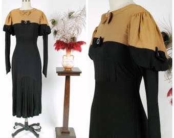 Vintage 1930s Dress - Incredible 1930s Mustard Yellow and Black Crepe Color Block Dress with Incredible Sleeves, Accent Bows, and Pleats