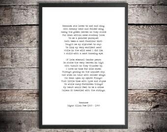 Edgar Allen Poe Printable Poem 'Romance' Instant Download Literary Gift Romantic Print Poetry Poster Vintage Typewriter Font Gift For Lovers