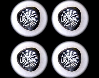 4 Czech Glass Buttons 27mm - 1 1/16 inch Black & White Retro Mod Whimsical Spiders Cobweb - DESTASH LOT SPECIAL