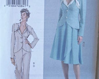 The Vogue Woman Easy Sewing Pattern Vogue 8266 Misses' Fitted Jacket, Wrap Skirt, and Pants UNCUT Factory Folds Sizes 6-8-10
