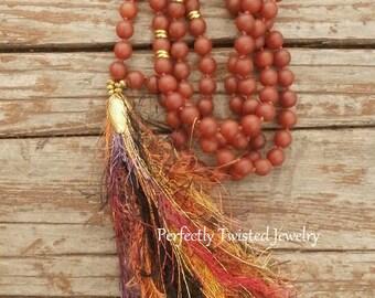 108 Bead Mala Necklace, Orange Matte Carnelian beads, Shabby Boho Tassel Necklace, Perfectly Twisted, Handmade Tassel Jewelry