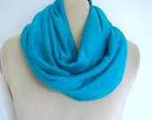 Turquoise Infinity Scarf,  Stretch Fabric, Knit  Rayon Cowl, Neck Warmer, Soft and Cozy