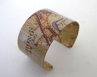 "Vintage  Orono Maine  cuff bracelet -1.5"" - gift boxed"