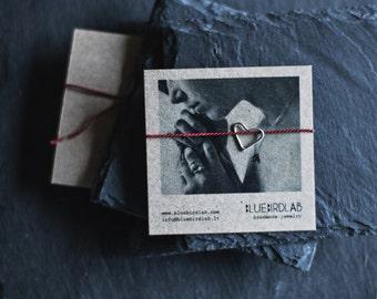 Silk Silver Heart Bracelet / Minimal Bracelet / Friendship Bracelet / Love Bracelet /Christmas gift