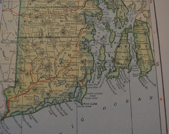 1912 State Map Rhode Island - Vintage Antique Map Great for Framing 100 Years Old