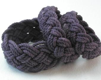 dark grey purple cotton rope bracelet series turks head knot bracelet 4076