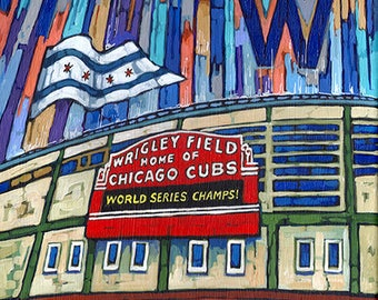 Wrigley Field Art, Chicago Cubs, World Series Champs, Fly the W, Wrigley Field Print, 8x10, by Anastasia Mak
