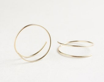Small gold hoops, infinity hoops, gold filled