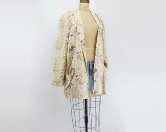 sale 90s Floral Jacket 90s Kimono Jacket 90s Oversize Jacket Cream White Jacket Cream White Blazer Cream Floral Blazer 90s Jacket L Large