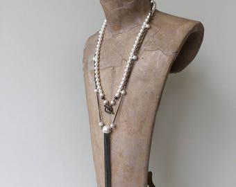 long tassel necklace white