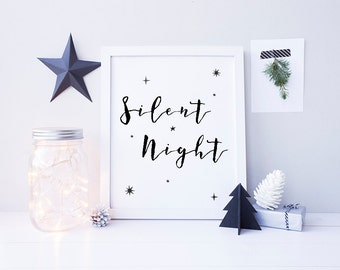 Silent Night Sign - Printable Christmas Art - Black Christmas Decor - Christmas Signs - Watercolor Christmas Print - Calligraphy - Modern