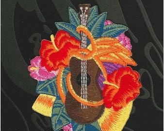 C&D Visionary Applique Ukulele with Aloha hibiscus and flowers