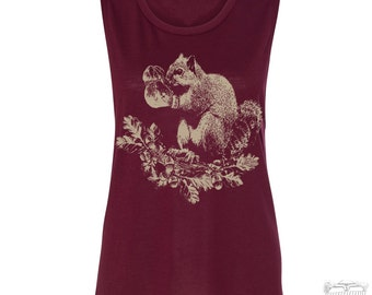 Womens SQUIRREL Boxer Flowy Muscle Tee Tank shirt size s m l xl xxl workout