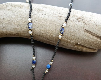 Sodalite Macrame Necklace | Stone of Intuition | Micro-Macrame | Unisex, Healing Crystal Jewelry