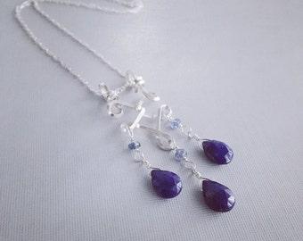 Lapis Sapphire Necklace / Silver Stone Necklace / Silver Blue Pendant / Sterling Silver Pendant / Silver Lapis Pendant