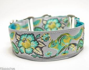 Chipmunk Gray and Lime Dog Collar / 1.5 inch or 2 inch Wide Dog Collar / Martingale or Buckle / Floral Dog Collar