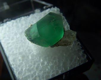 Namibia Green Fluorite crystal =specimen - perky box mineral mount - cube formations - coyoterainbow display box Erongo Karibib B18R