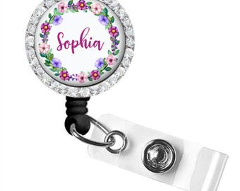 Retractable Badge Holder | Floral Personalized Badge Reel | Monogram Badge Reel | Nurse Badge Reel | Badge Holder | Style 731