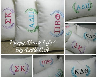 Sorority Pillows in White Linen / Accent Pillow / Big Little Gift/ Bid Day Gift/Sorority Gift